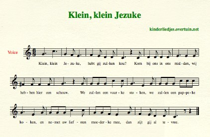 Dutch Christmas songs, A-M, with music, translated in English
