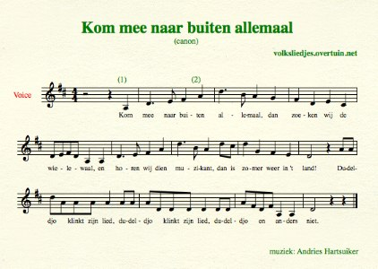 sheet music dutch folk song canon wielewaal thumb