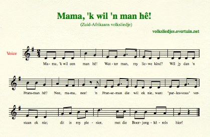 sheet music south-african folk song mama ik wil een man heb thumb