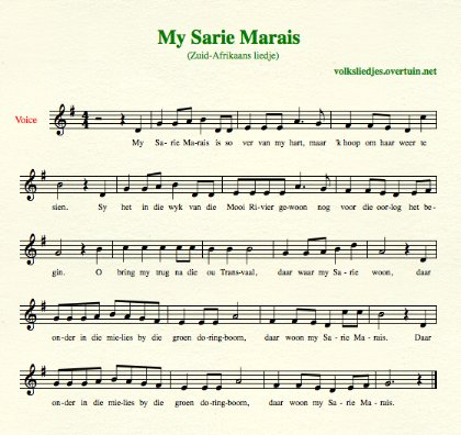 sheet music south-african folk song my sarie marais thumb