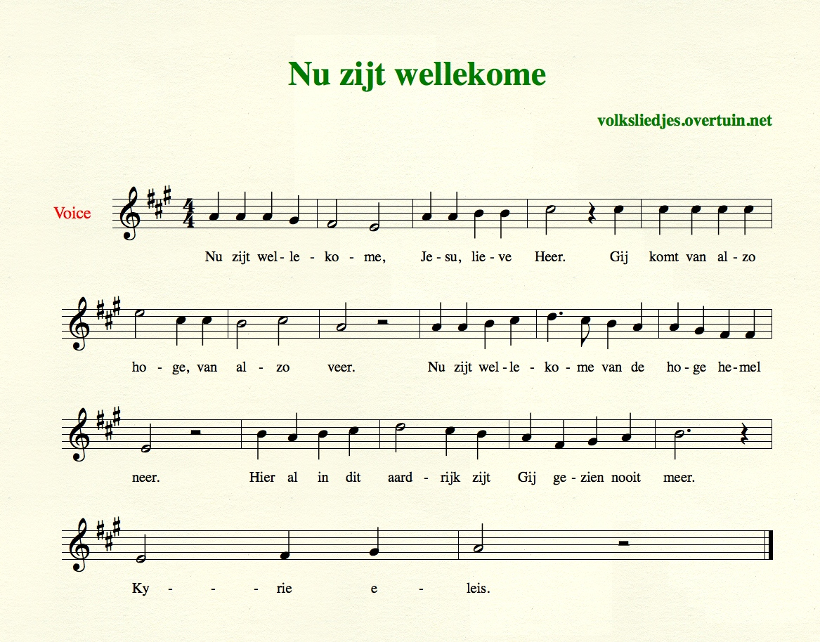 Dutch Christmas songs, N-Z, with music, translated in English ...