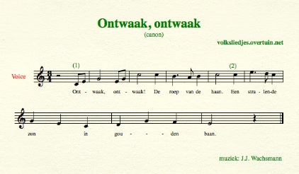 sheet music dutch folk song canons ontwaak morgen breekt thumb