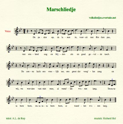 sheet music dutch folk song paden op thumb