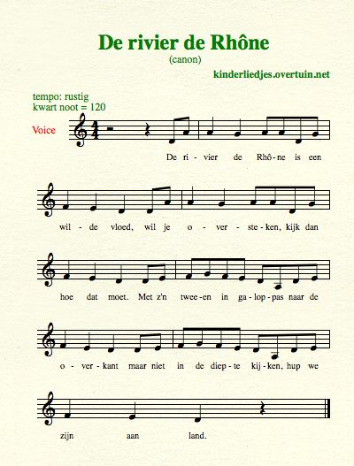 sheet music dutch folk song canons river rhone thumb