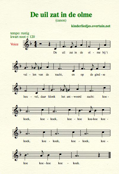sheet music dutch folk song canon uil olme thumb