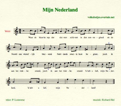 sheet music dutch folk song waar de blanke top thumb