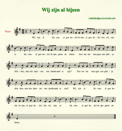 sheet music dutch folk song kadulletjes thumb