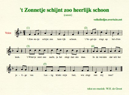 sheet music dutch folk song canon zonnetje schijnt thumb