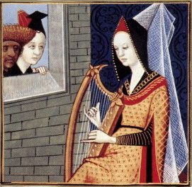 picture medieval harp playing folk songs